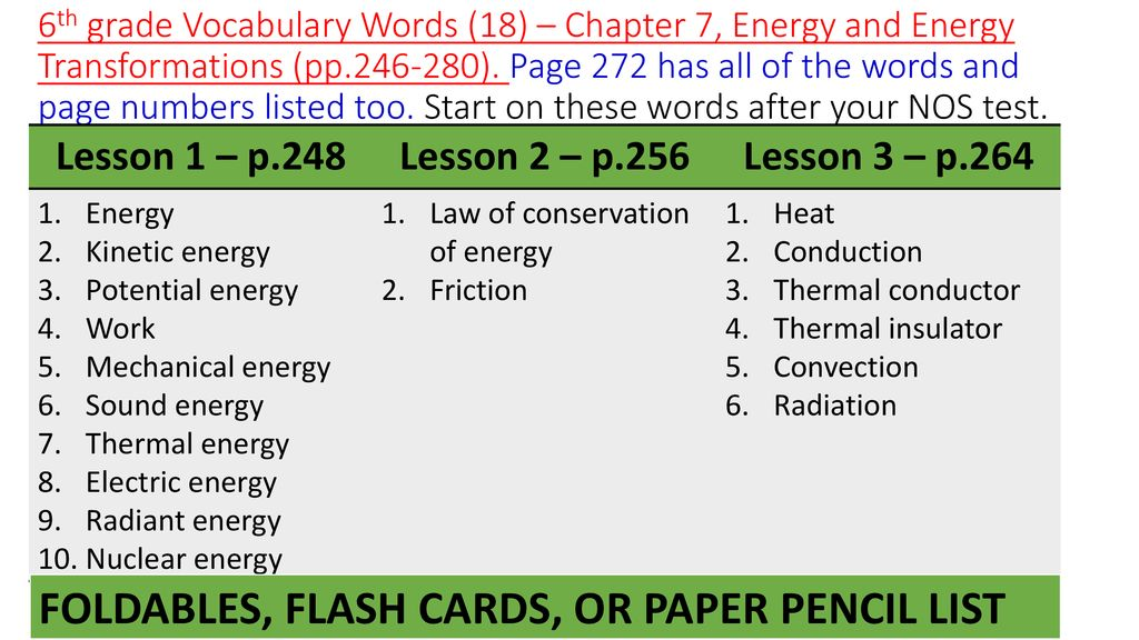6th 7th 8th Grade Science Chapter Vocabulary Words