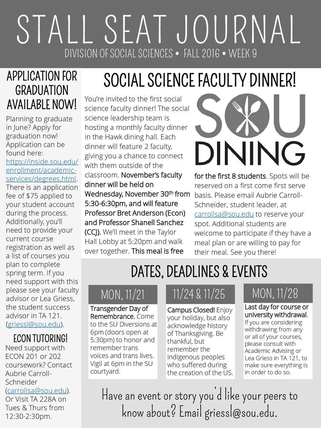 STALL SEAT JOURNAL SOCIAL SCIENCE FACULTY DINNER! - ppt download