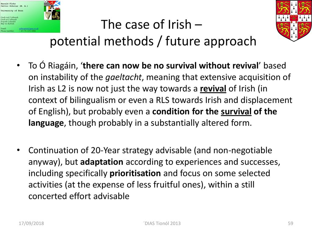 Language policy revisited – 20 year strategy for the Irish