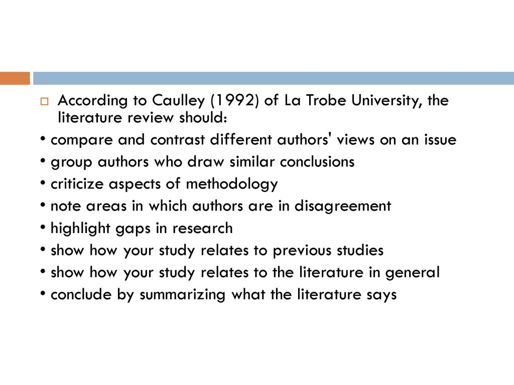 caulley (1992) of la trobe university the literature review