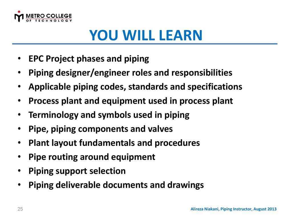 Piping Layout Engineer Responsibilities Wiring Diagram Libraries Libraryalireza Niakani Instructor August 2013