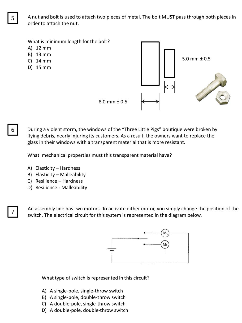 Ast416 Applied Science And Technology Ppt Download Double Pole Throw Switch How To Wire A Single 5 Nut Bolt Is Used Attach Two Pieces Of Metal The