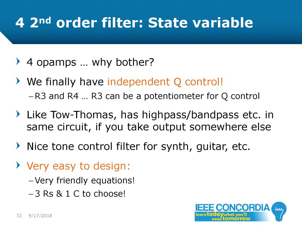 Intro To Analog Audio Electronics Ppt Download Voltagecontrolledstatevariablefilter Powersupplycircuit 4 2nd Order Filter State Variable