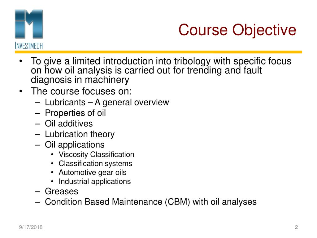 Tribology in Condition Based Maintenance LUBRICANT ANALYSIS - ppt