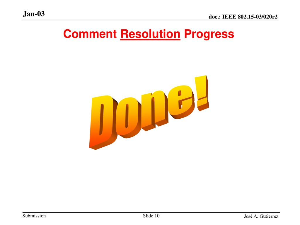 Comment Resolution Progress