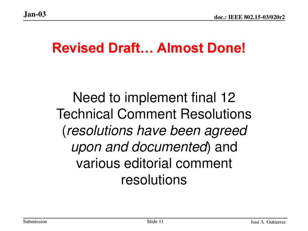 Revised Draft… Almost Done!