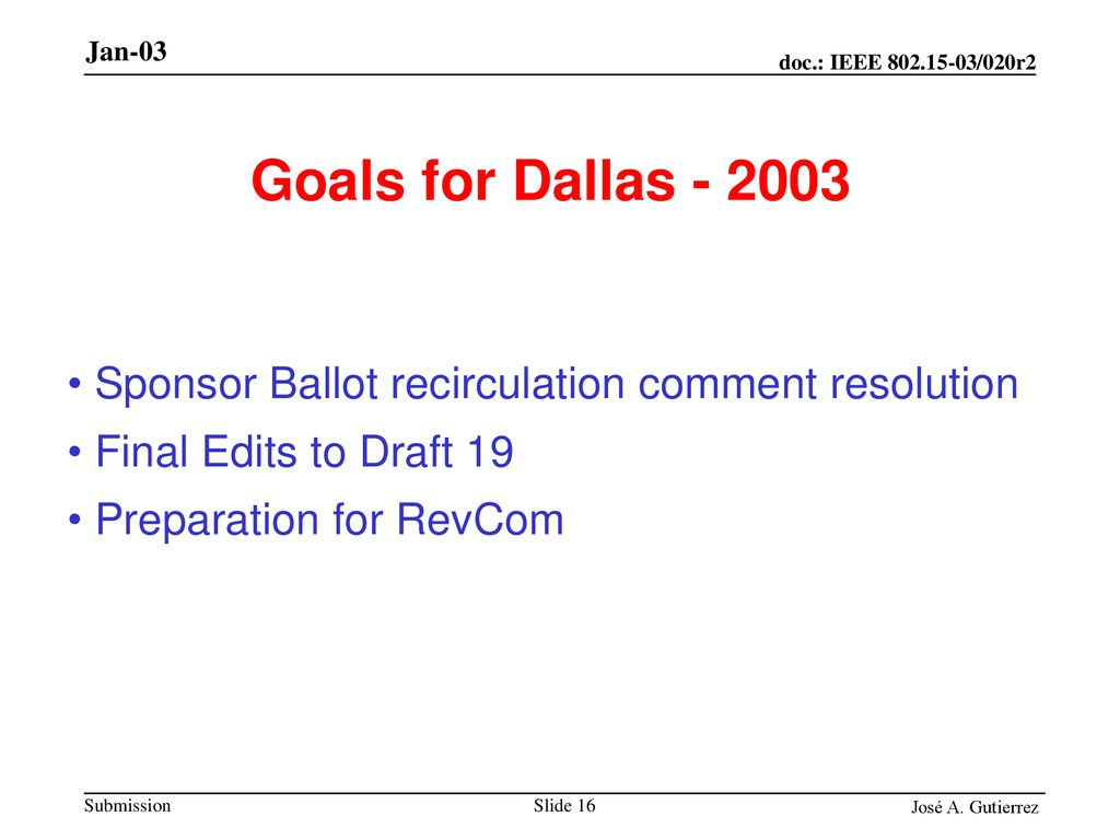 Goals for Dallas Sponsor Ballot recirculation comment resolution.