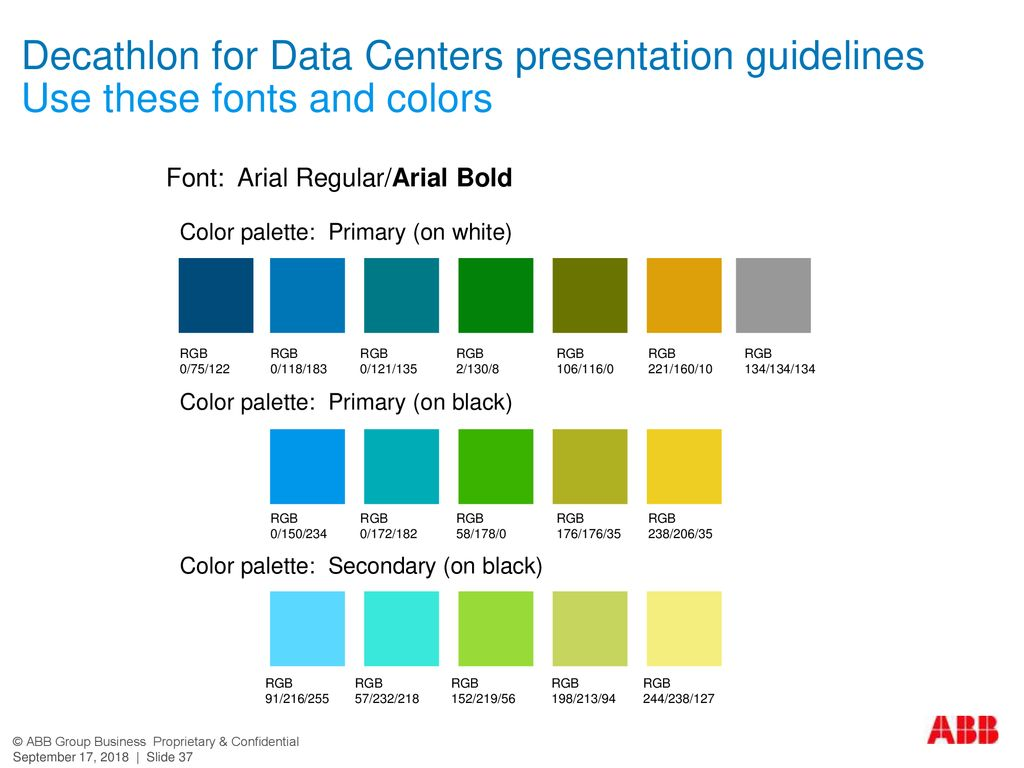 Decathlon for Data Centers presentation guidelines