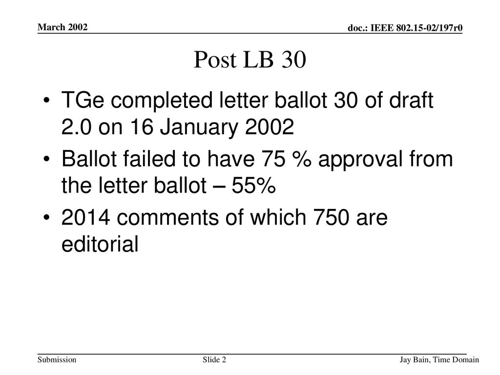 March 2002 Post LB 30. TGe completed letter ballot 30 of draft 2.0 on 16 January
