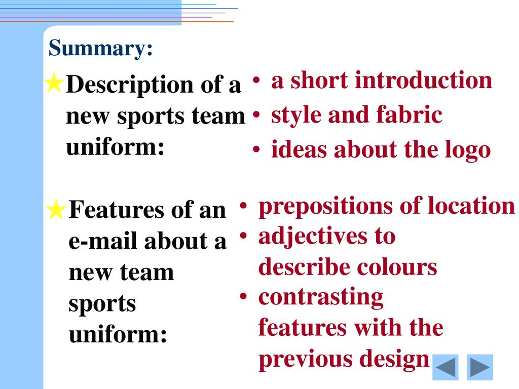 Writing an About a New Sports Team Uniform - ppt download
