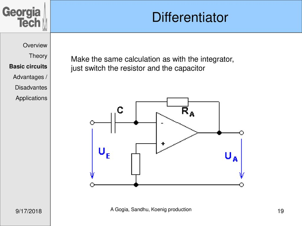 Me 6405 Intro To Mechatronics Operational Amplifiers Ppt Download Subtractorcomparator Circuits Integraterdifferentiator 19 A Gogia Sandhu Koenig Production Differentiator Overview Theory Basic