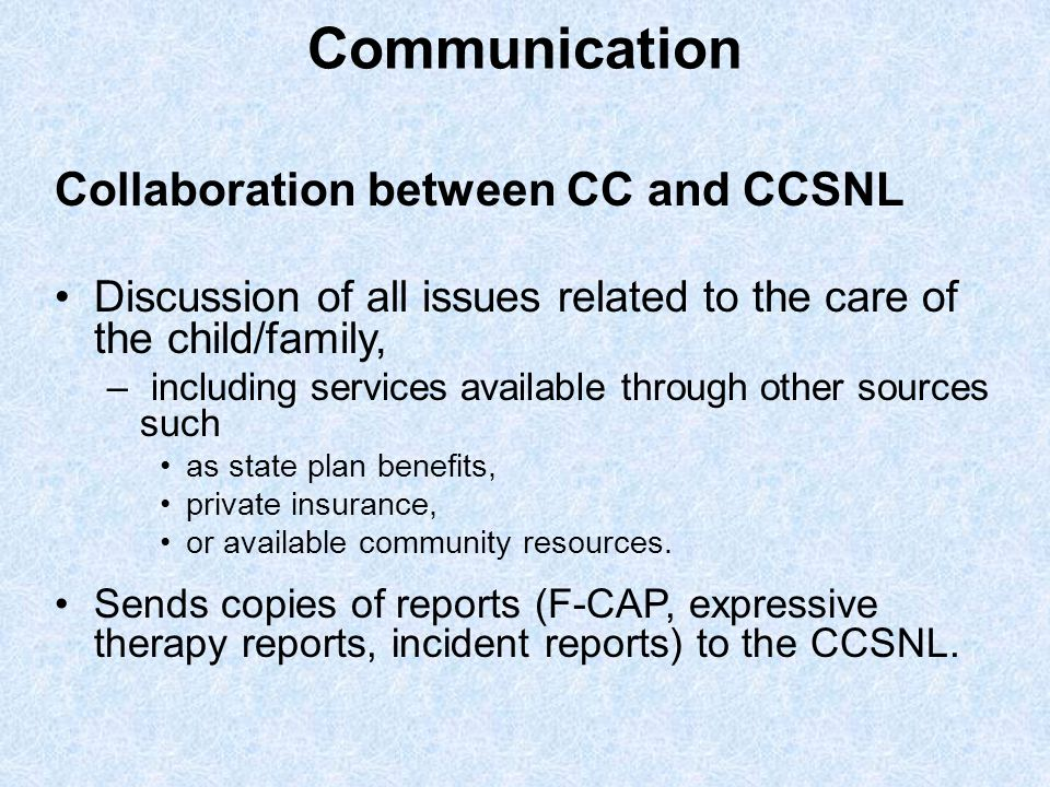 Communication Collaboration between CC and CCSNL