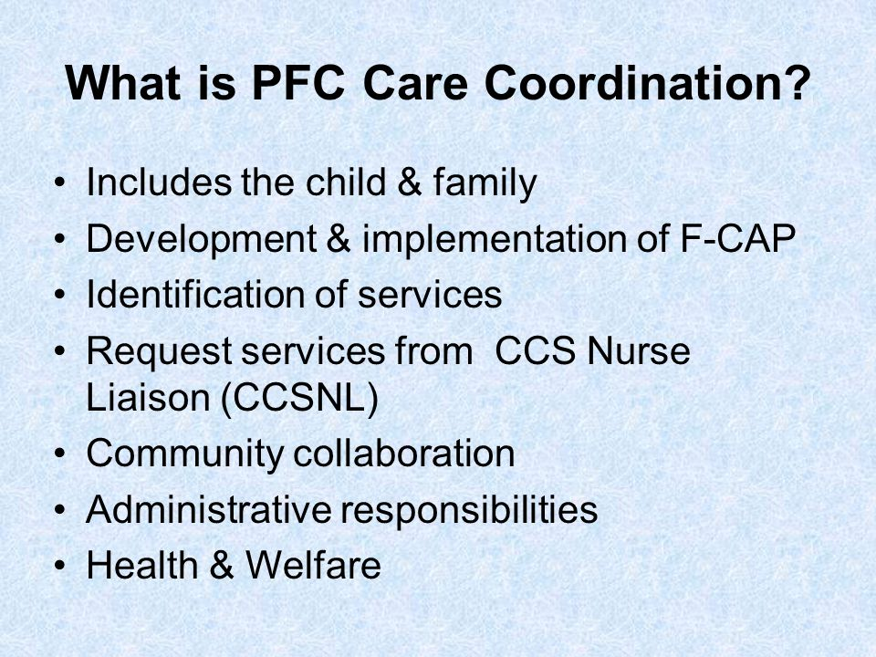 What is PFC Care Coordination