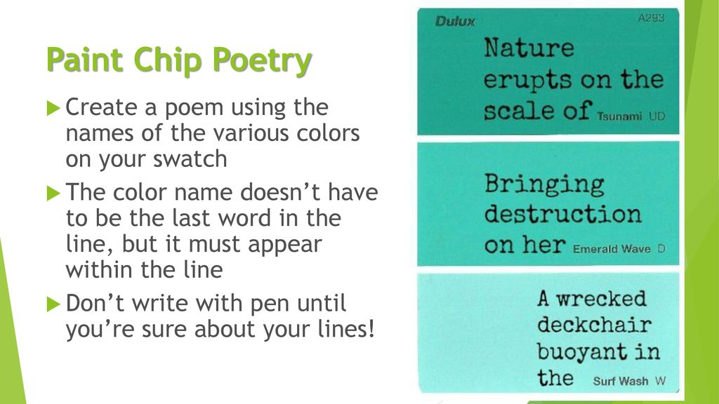 Paint Chip Poetry Create A Poem Using The Names Of The