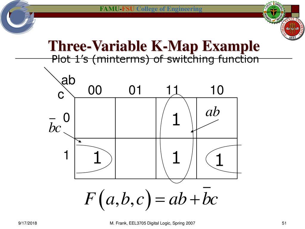 Eel 3705 3705l Digital Logic Design Ppt Download K Map Diagram Three Variable Example