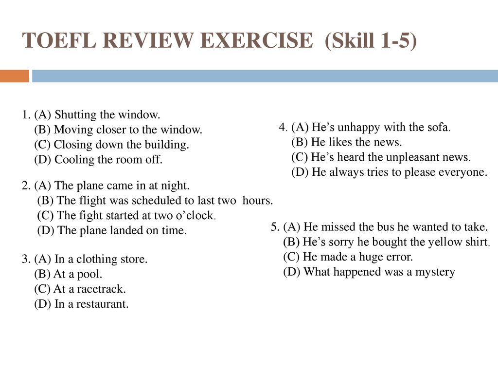 image regarding Toefl Exercises Printable named TOEFL Overview Conditioning (Means 1-5) - ppt obtain