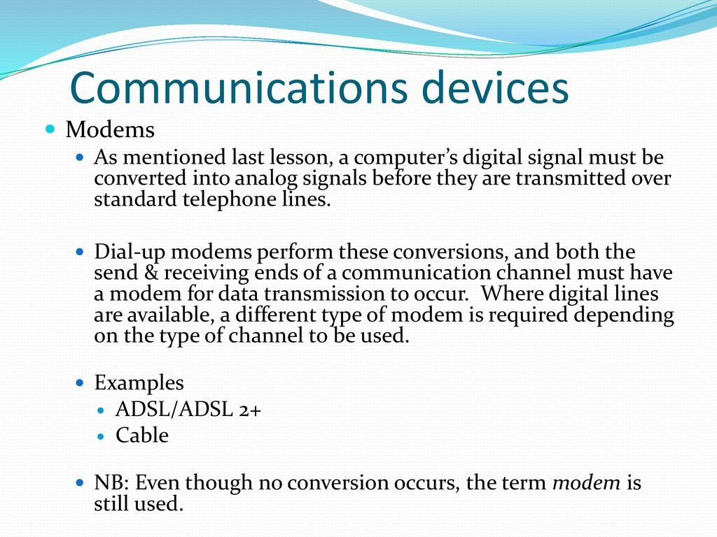 Information Technology Unit 1 Outcome 2 Networks Ppt Download Analog Signal Transmission Over Telephone Lines 31 Communications Devices