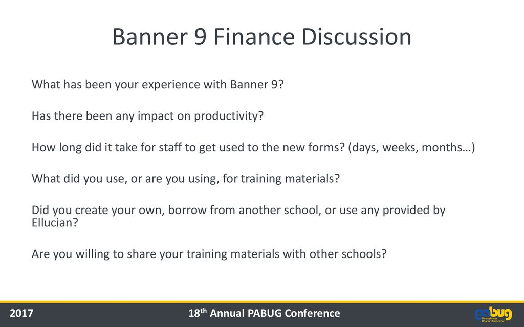 Banner 9 Finance Discussion - ppt download