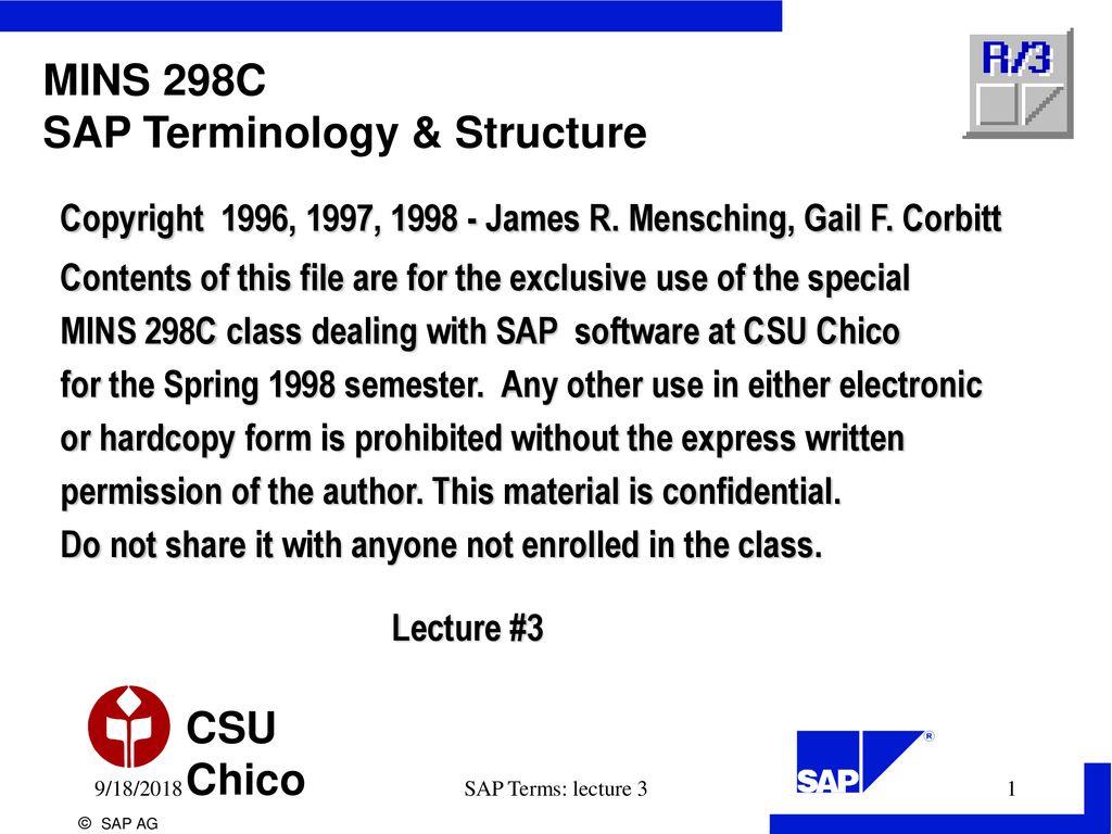 MINS 298C SAP Terminology & Structure - ppt download
