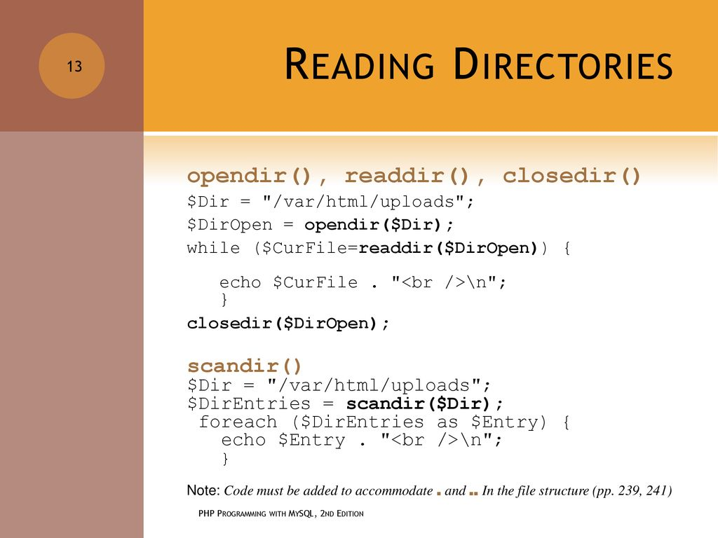 CHAPTER 5 WORKING WITH FILES AND DIRECTORIES PHP PROGRAMMING