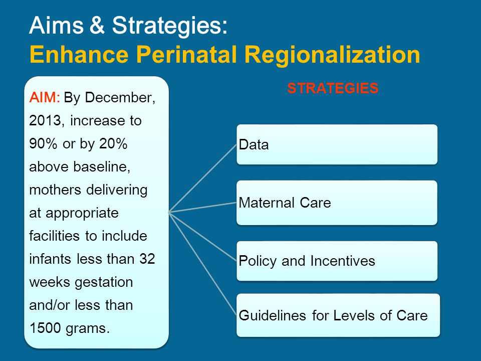 Aims & Strategies: Enhance Perinatal Regionalization