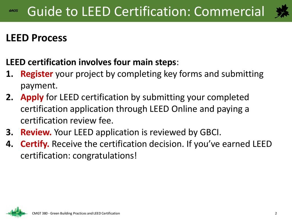 Cmgt 380 Green Building Practices And Leed Certification Ppt Download
