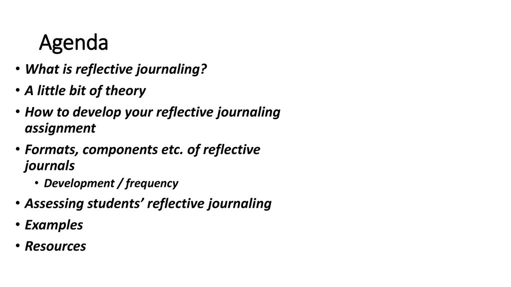 agenda what is reflective journaling a little bit of theory