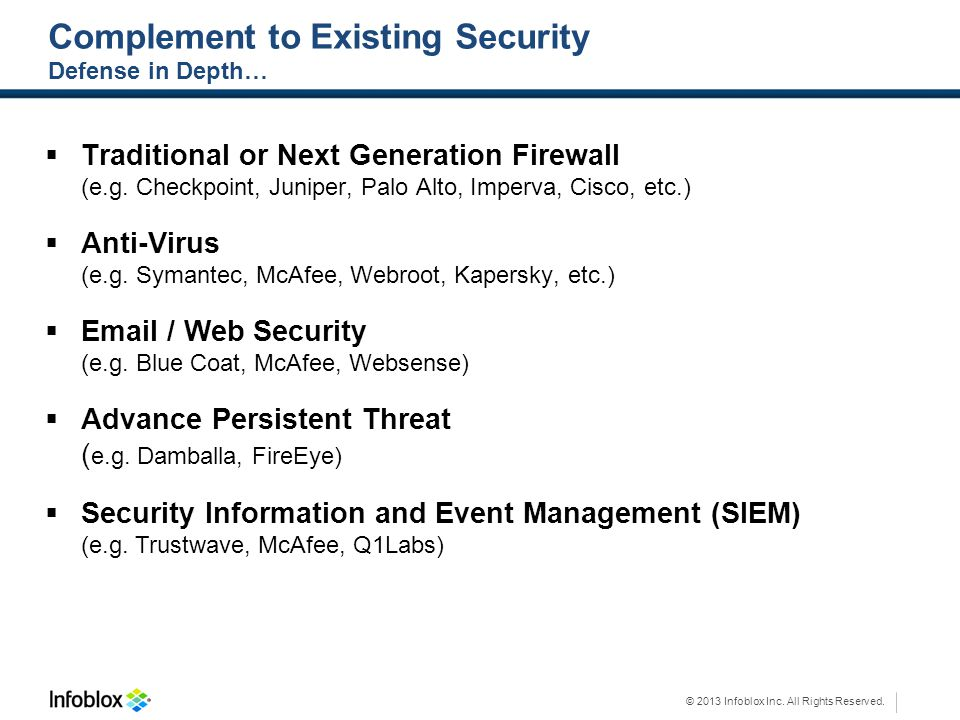 Complement to Existing Security Defense in Depth…