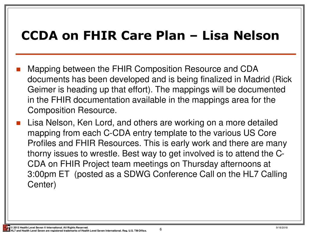 HL7 WGM Madrid May 2017 Care Plan Standards Update - ppt download