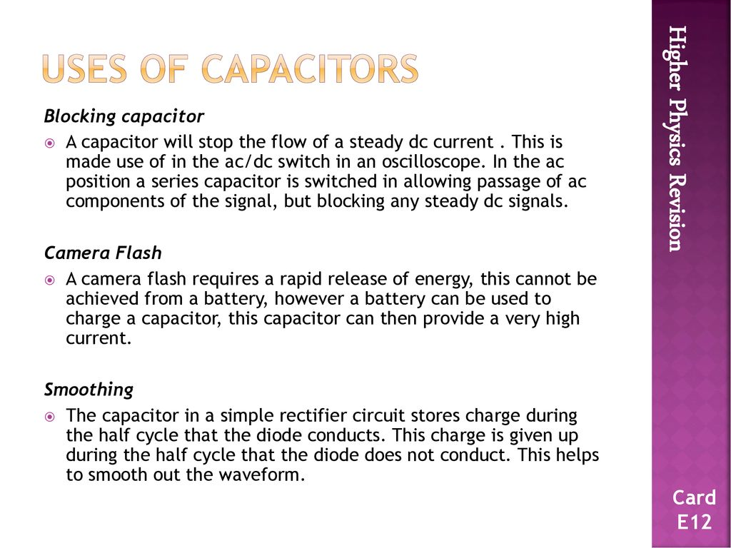 Higher Physics Flashcards Ppt Download Simple Rectifier Circuit 46 Uses
