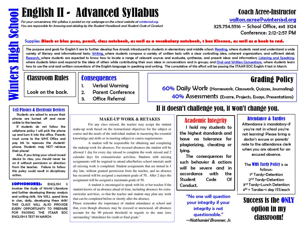 English II - Advanced Syllabus - ppt download