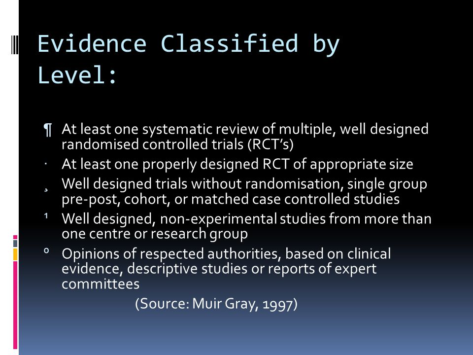 Evidence Classified by Level: