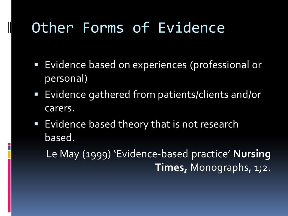 Other Forms of Evidence