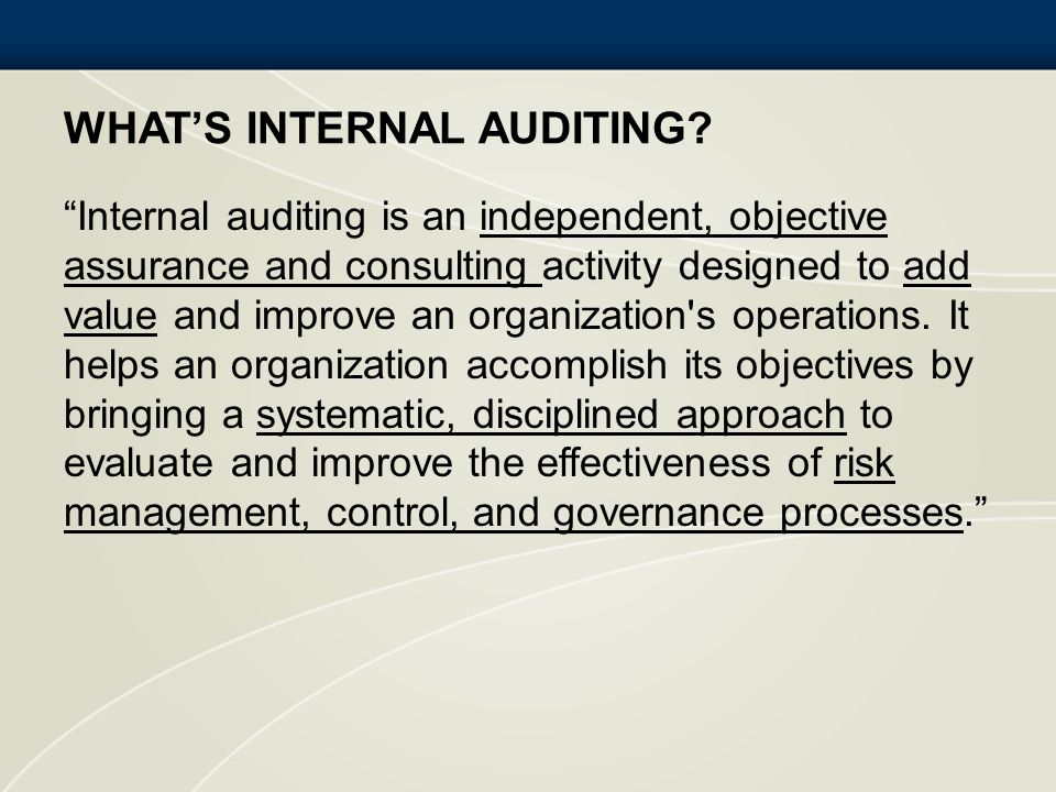 What's Internal Auditing