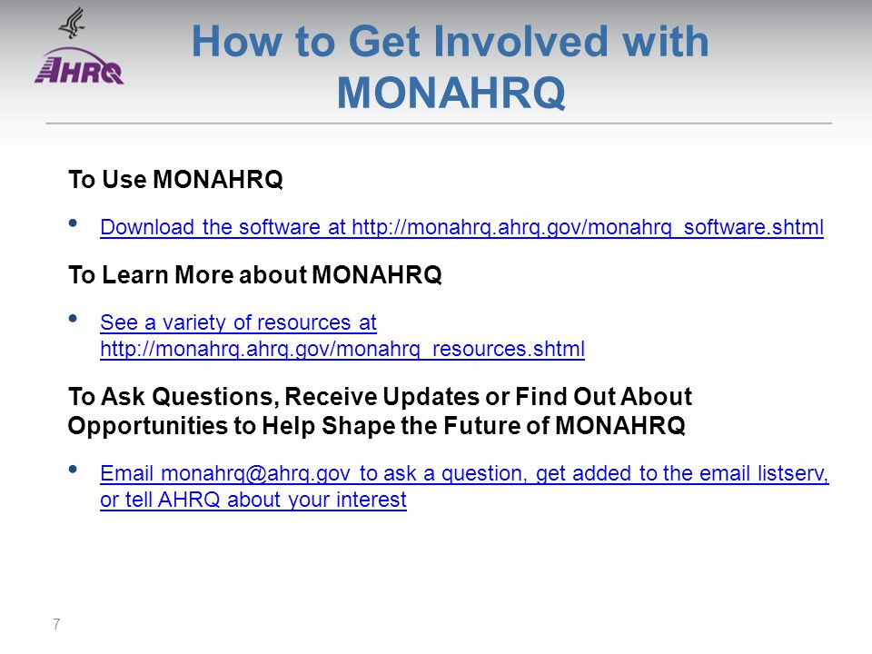 How to Get Involved with MONAHRQ