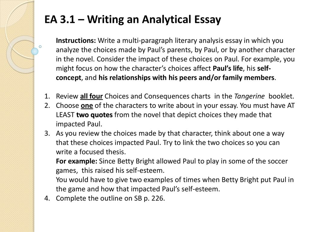 Springboard Ea   Writing An Analytical Essay  Ppt Download Ea   Writing An Analytical Essay Instructions Write A Multiparagraph  Literary Analysis