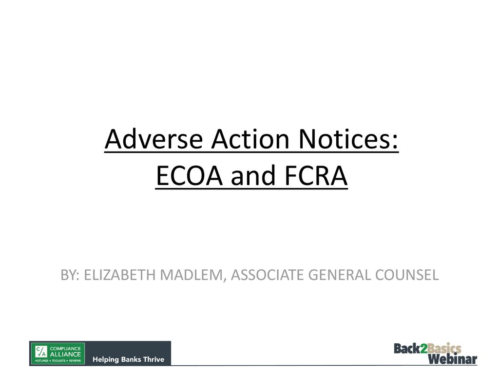 Adverse Action Notice >> Adverse Action Notices Ecoa And Fcra Ppt Download