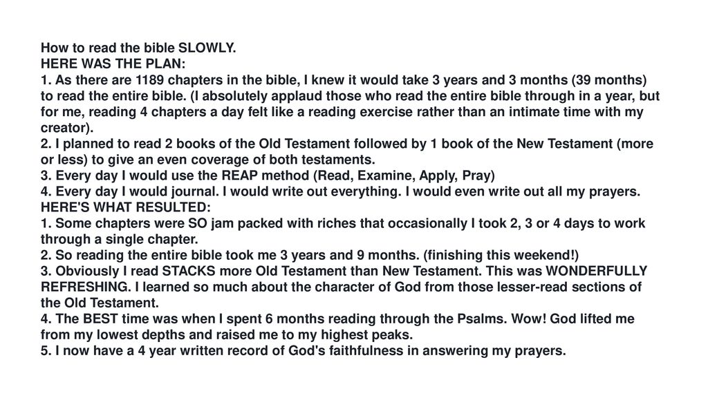 How to read the bible SLOWLY  - ppt download
