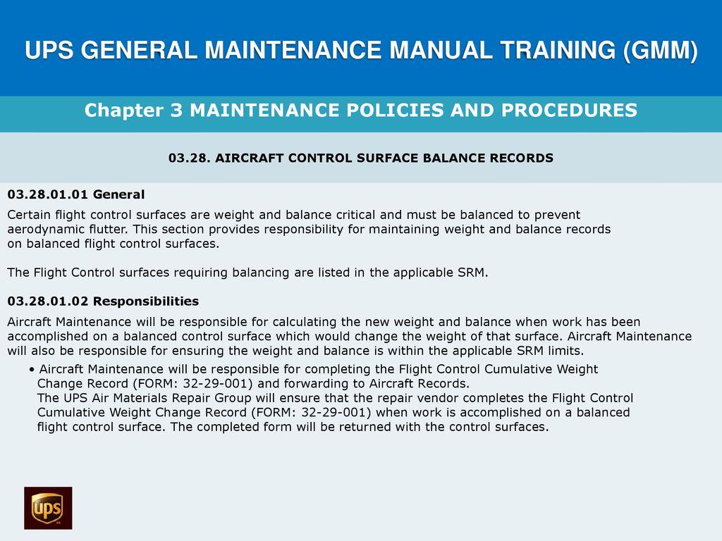 UPS GENERAL MAINTENANCE MANUAL TRAINING (GMM) - ppt download