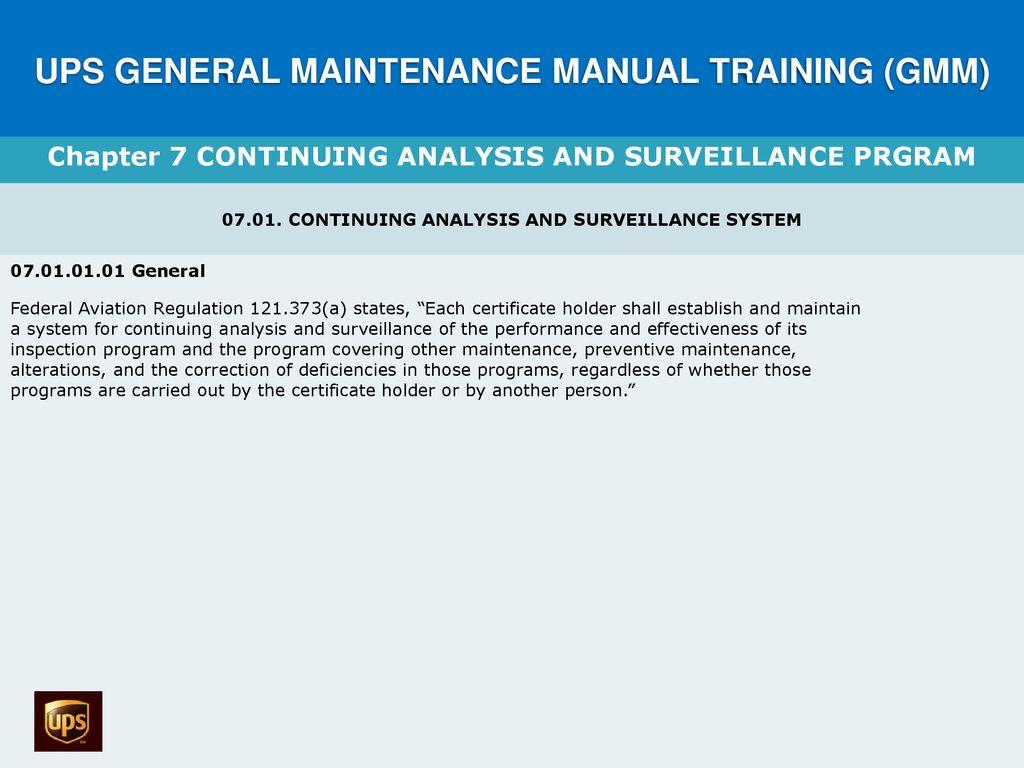 UPS GENERAL MAINTENANCE MANUAL TRAINING (GMM)