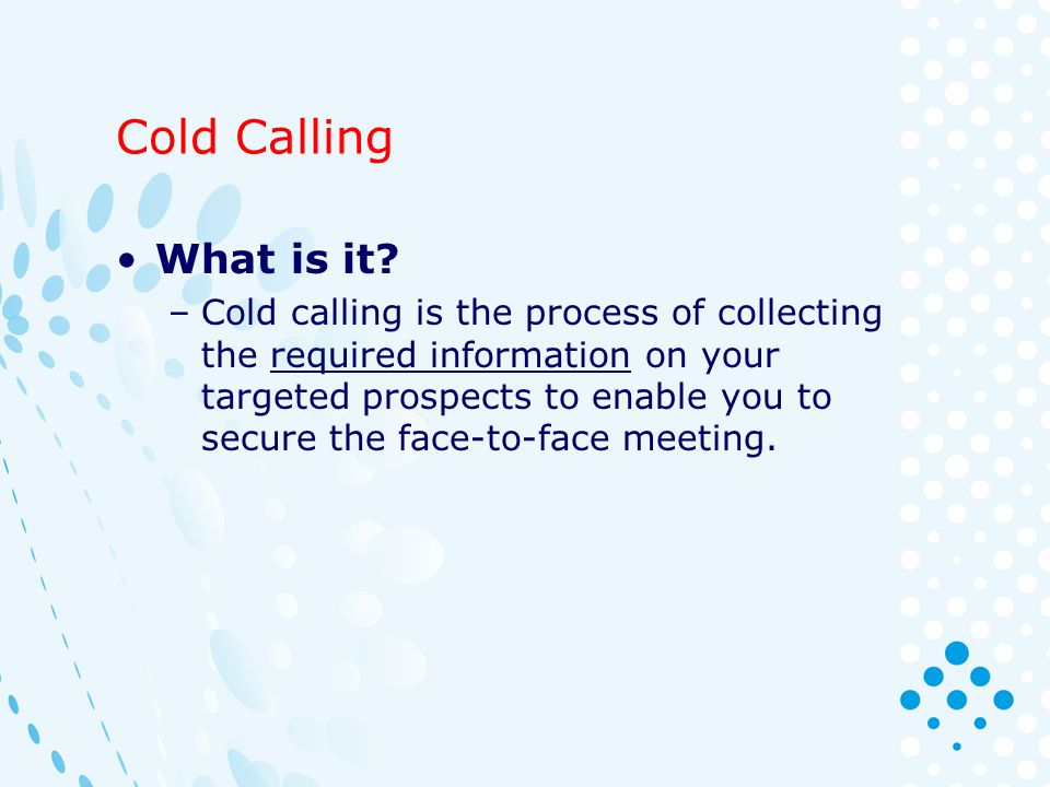 cold calling sales training ppt download