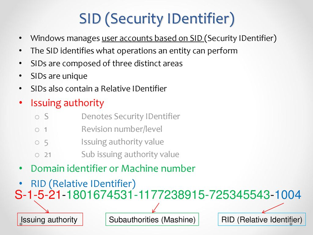 Lecture 2 Registry Data Deleted Data SAM file SID & RID