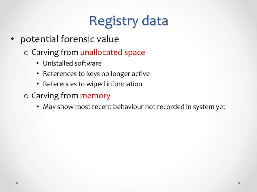 Lecture 2 Registry Data Deleted SAM File SID RID