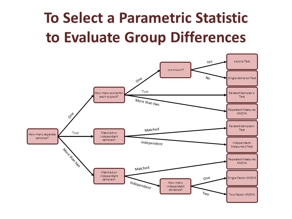 To Select a Parametric Statistic to Evaluate Group Differences