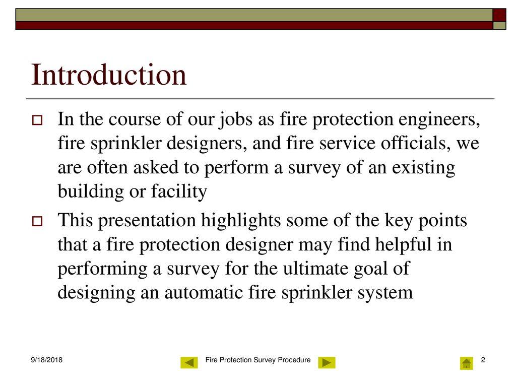 Fire Protection Survey Procedure Ppt Download