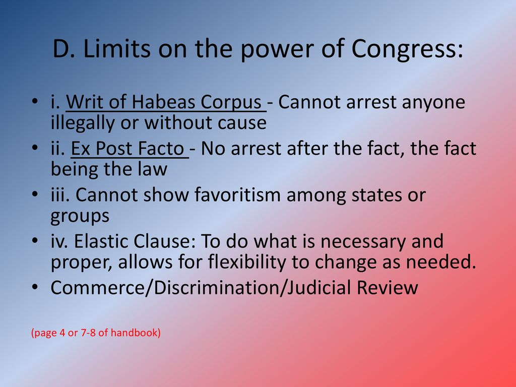 Chapter 9 Part Ii The Citizenship Handbook Ppt Download Electricity Quiz Board Vocab Intro 4 12 10 20quiz D Limits On Power Of Congress