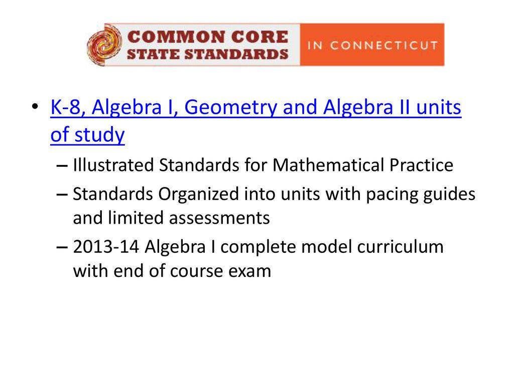 K-8, Algebra I, Geometry and Algebra II units of study