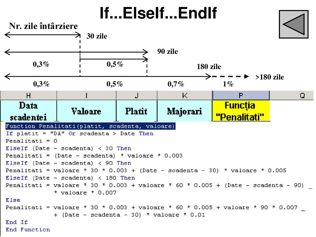 If...ElseIf...EndIf =IF(OR(J5= DA ;TODAY()<H5);0;