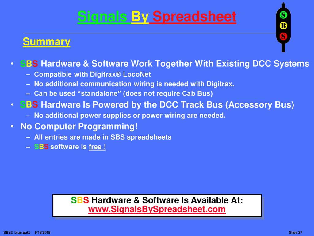 Signals By Spreadsheet Ppt Download Digitrax Dcc Wiring Track 27 Sbs