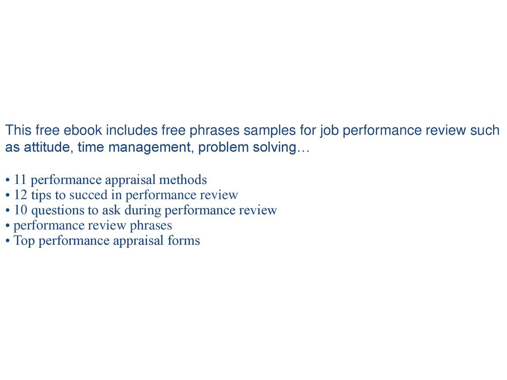 300 Performance Review Comment Phrases Samples Ppt Download